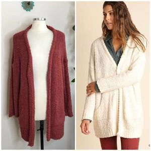Umgee fuzzy open front cardigan sweater large